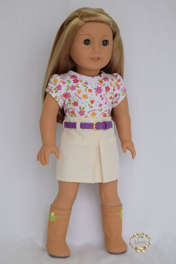 American girl doll clothes Tee & Skirt with a by PricessPrincess