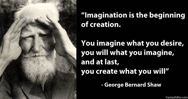 """""""Imagination is the beginning of creation. You imagine what you desire, you will what you imagine, and at last, you create what you will"""" – George Bernard Shaw"""