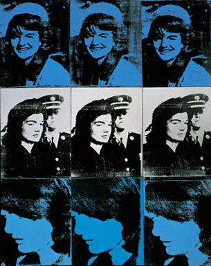 Andy Warhol  Nine Jackies, 1964. Synthetic polymer and silkscreen ink on canvas, 59 1/2 × 48 1/4 inches. Collection The Whitney Museum of American Art, New York.  Follow #AndyWarhol Art on Pinterest curated by Joseph K. Levene Fine Art, Ltd. | http://pinterest.com/jklfa/andy-warhol-art/