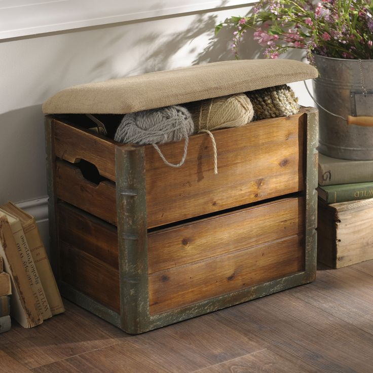 We can't get enough of this Wooden Crate Storage Ottoman! The rustic styling is perfect for any cottage or farmhouse look, and the burlap covered lid makes it extremely durable.