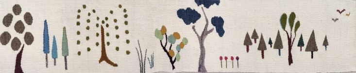 "Morning Meander; Hand Woven Tapestry; 7 1/2"" x 36""; wool, natural dye; Sarah C. Swett 2016"