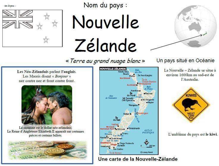 Fiche pays d'Océanie : la Nouvelle-Zélande » Ecole Anne Sylvestre - Pouillé les Coteaux