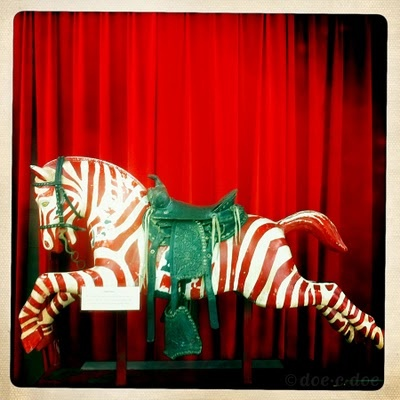 vintage coin operated zebra ride~