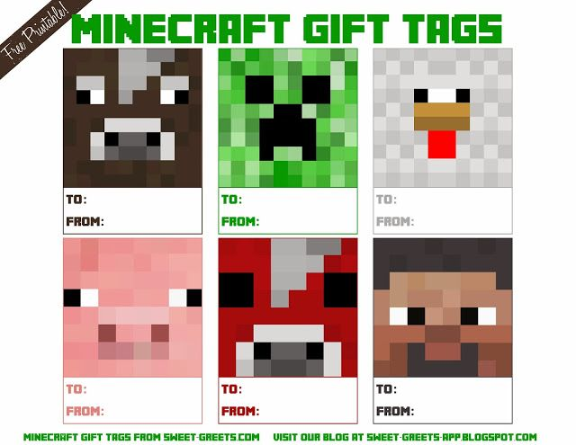 Free Printable Minecraft Gift Tags                                                                                                                                                                                 More