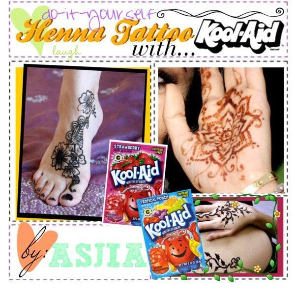 Kool Aid tattoos :)  HOMEMADE HENNA  Here is a quick little tip on how to easily do henna tattoos with Kool Aid! FOR THOSE HAVING TROUBLE WITH LINK, THE DIRECTIONS-Materials needed: 1) 1 pack of orange Kool Aid 2) one drop of green food coloring 3) 1 cup of water 4) Jar/bowl  How to: 1) Mix it all together! Paint it on your hand and let it sit for 1 minute!