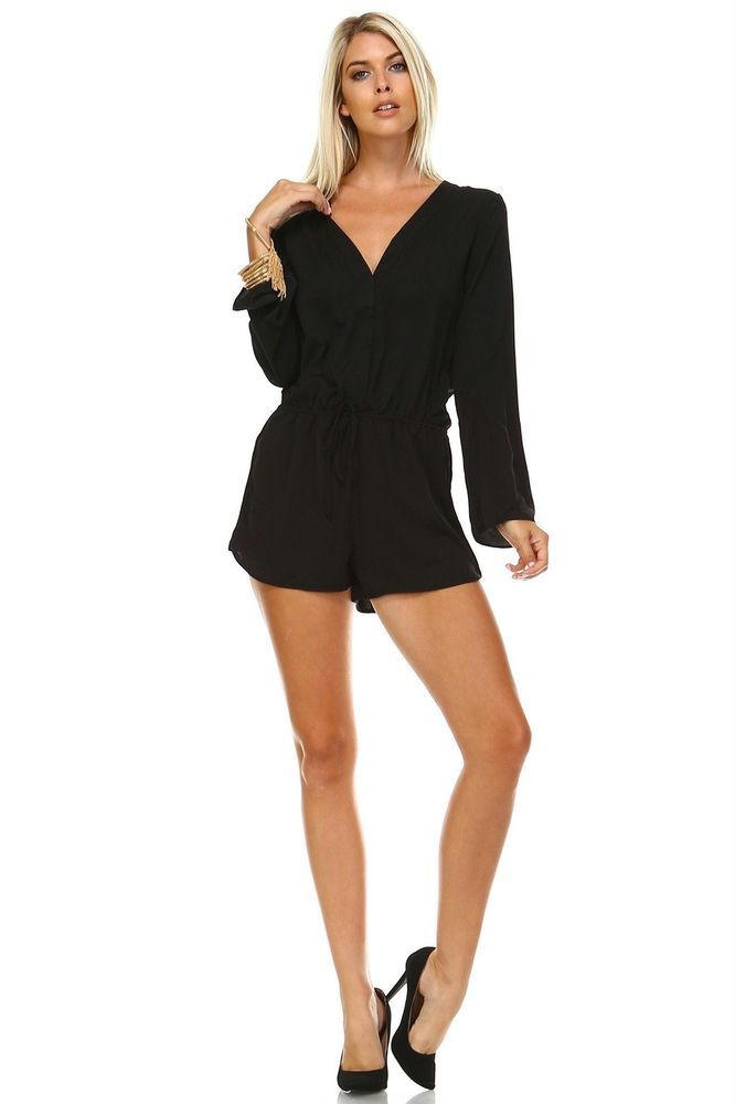bd6c03ac7e6 New Women s Long Sleeve Waist Tie Romper Black Small  MarcelleMargaux