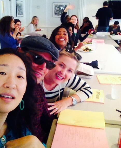 Grey's Anatomy season 10 Final Table Read. Sandra Oh, Justin Chambers, Jessica Capshaw, Chandra Wilson, and Sarah Drew