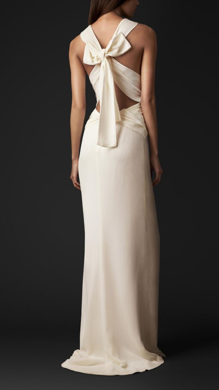 Bow Back Silk Gown | Burberry