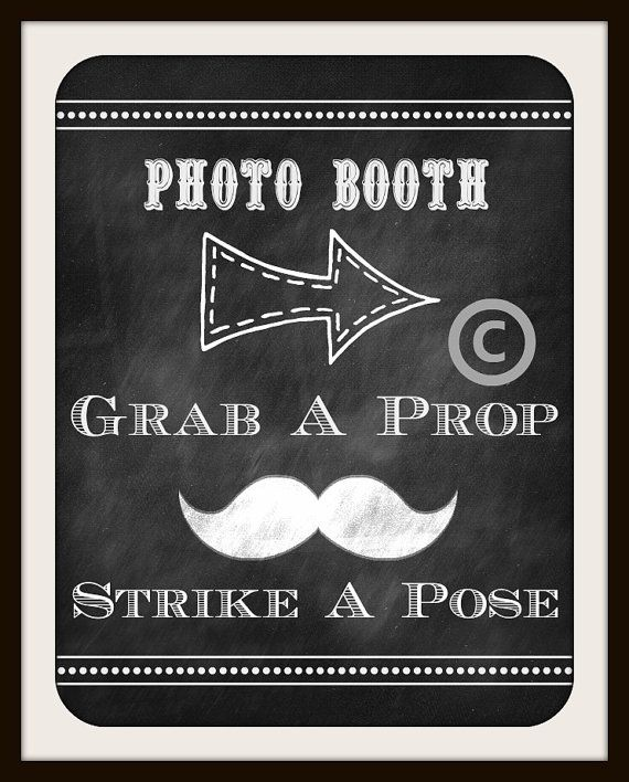 Wedding Sign / Photo Booth / Chalkboard Wedding Sign / Instant Download / Grab A Prop Strike A Pose Printable via Etsy
