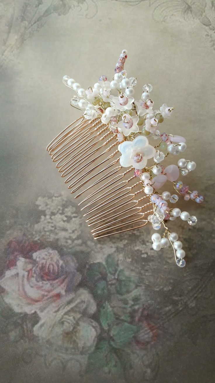 Wedding accessories pearls flowers pearls - Spring Flowers White Wedding Hair Comb Pale Pink Crystal Pearl Flowers Bridal Hair Accessory With