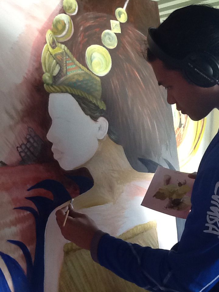 Martin Leung-Wai painting taupou #samoan #taupou #unfinished