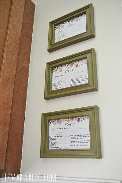 DIY Framed Recipe Cards Kitchen Art! Need to do this with Momma and Granny's handwritten recipes.