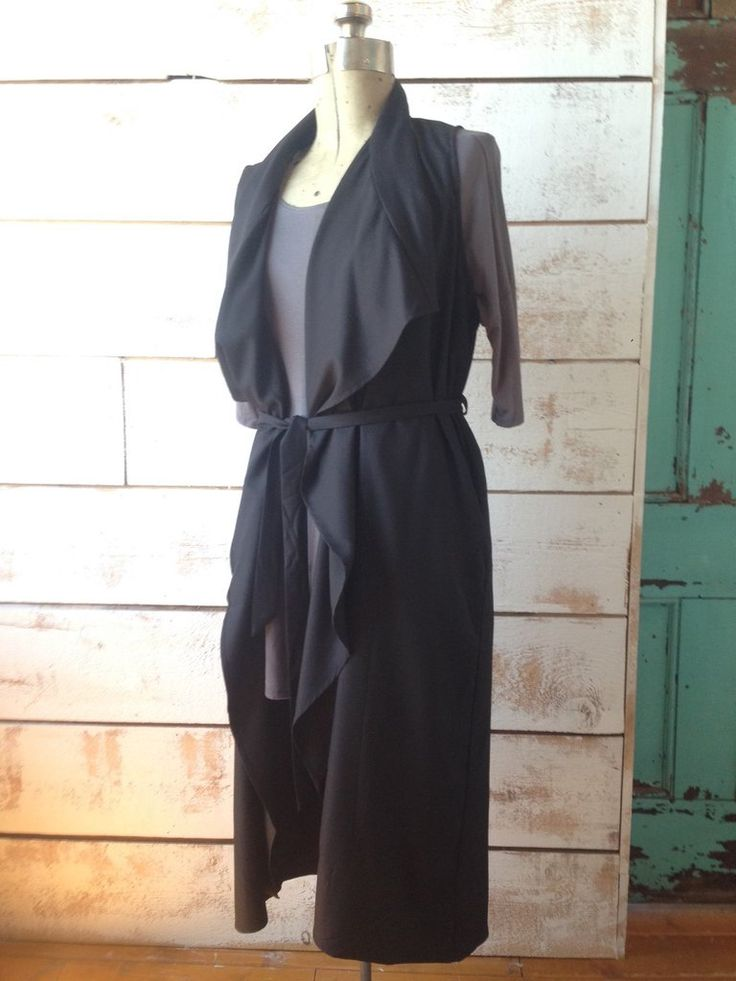 Black Long Layering Vest with Tie