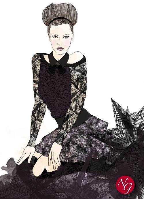 Deep stars  http://www.nefergarden.com/2013/01/28/deep-stars/  #fashion #illustration #dentelle #stars