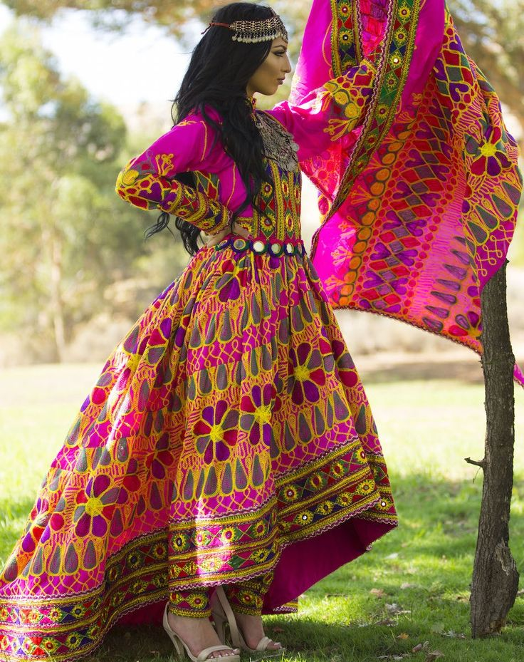 Yasmine Qalin Baaf Afghan Dress