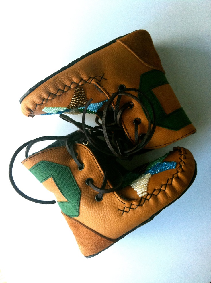 Children's handmade leather beaded wool-lined moccasin ...