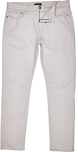 $24, River Island Grey Chino Trouser. Sold by River Island. Click for more info: https://lookastic.com/men/shop_items/254244/redirect