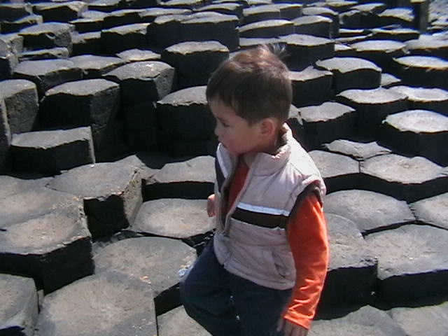 Rian exploring the Giants Causeway, Co Antrim Northern Ireland in 2007.