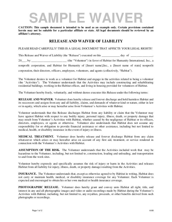 Volunteer release and waiver template - waiver example