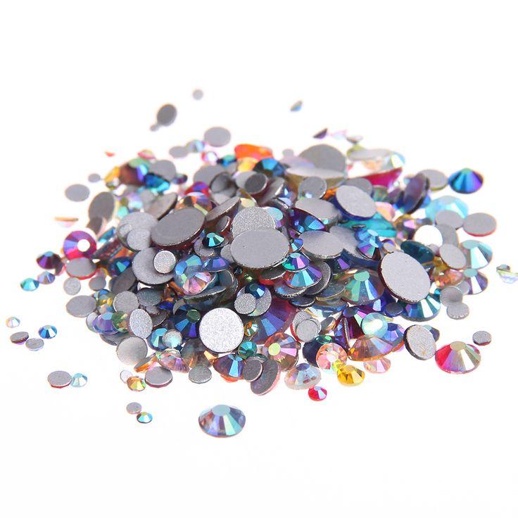 Mixed AB Colors Non Hotfix Crystal Rhinestones For Nails Art Decoration Flatback Glue On Strass Diamonds DIY Crafts Decorations