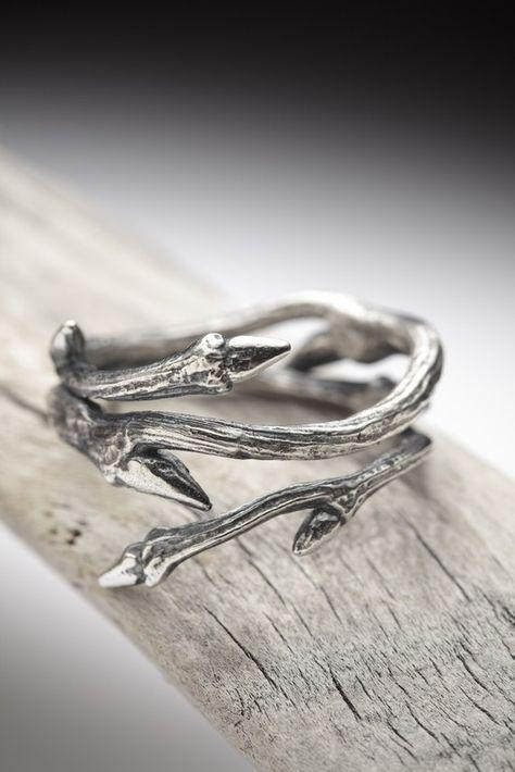 Elfen bindgaren sterling zilveren takje ring stapelen door redsofa