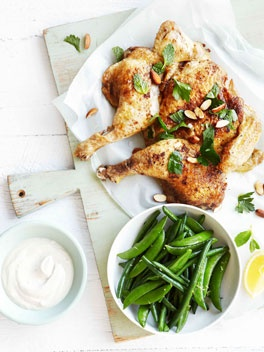 Roast chicken with yoghurt tahini dressing, lemon and mint