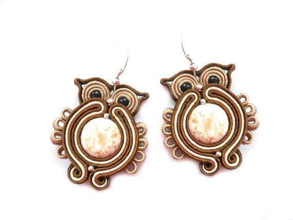 Soutache earrings in brown and beige. OWL от SoutacheByMolicka, $15.00