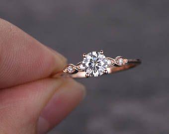 5mm Round Shaped Cut Moissanite Ring,Moissanite Engagement Ring,Diamond Wedding Band,Solid 14K Rose Gold,promise ring,gift for her