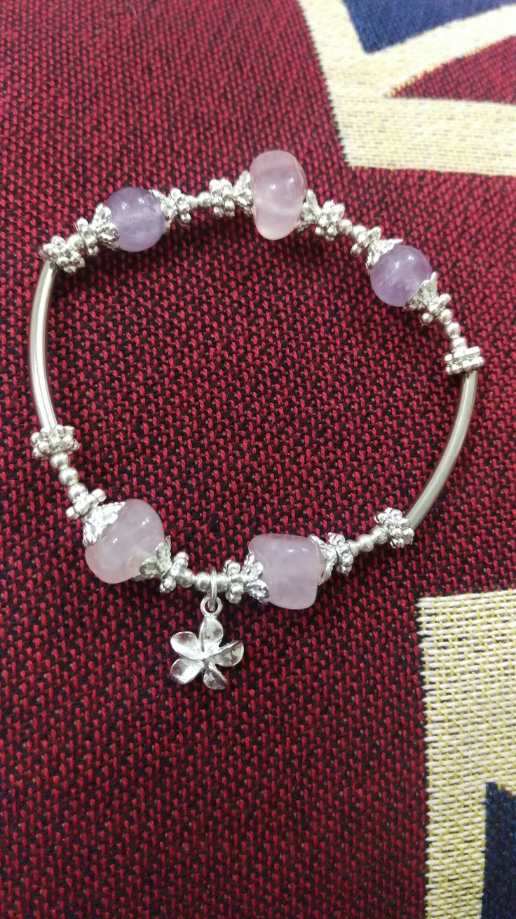 Hand-made bracelet for my sister.  #bracelet#silvery#crystal#hand-made#present#craft