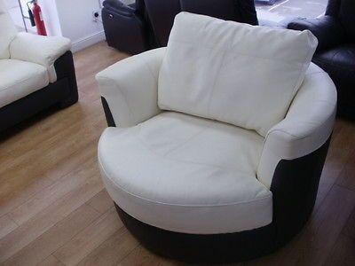 HALF WHITE GREY LEATHER SWIVEL ARM CHAIR (226) £149 in Sofas | eBay