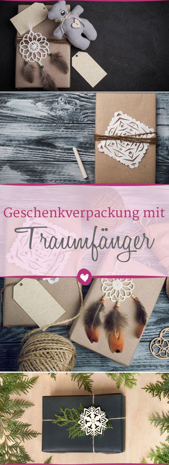 Ein #Traumfänger als Geschenkverpackung? SO toll sieht die #diy Idee aus! #Geschenk