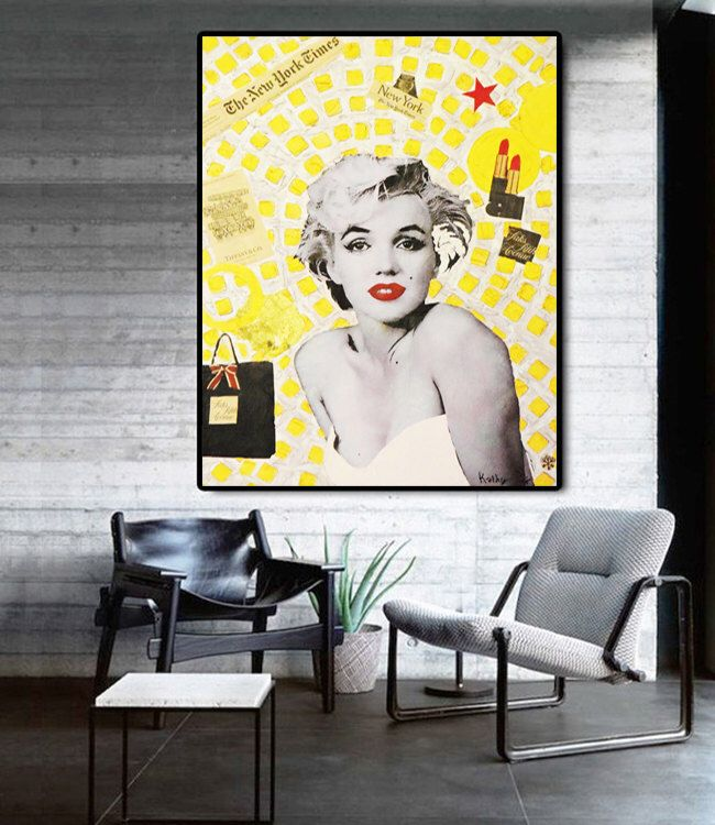 Marilyn MONROE, Living Room Wall Art, Mixed Media Collage Art, Acrylic  Painting, Part 61