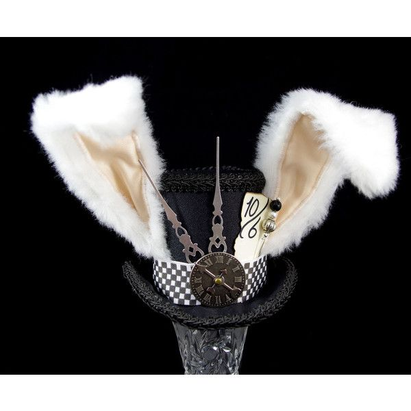 The White Rabbit Rabbit Eared Black Steampunk Mini Top Hat Fascinator,... ($50) ❤ liked on Polyvore featuring accessories, hats, black derby hat, bowler hat, mini hats, steampunk hat and tea party hats