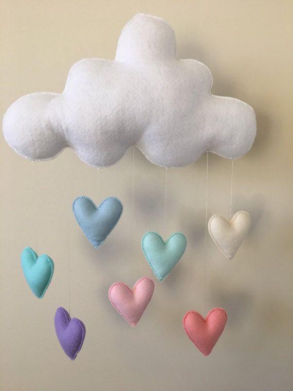 Jumbo bebé moderno móvil - arco iris Pastel fieltro Nube - Merino lana las gotas de lluvia - decoración de cumpleaños hecha a mano - 1 º - dormitorio bebé ducha Decor-