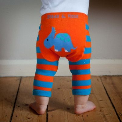 Baby Boy Dinosaur Leggings in Orange and Blue | Blade and Rose | Sprogs Inc