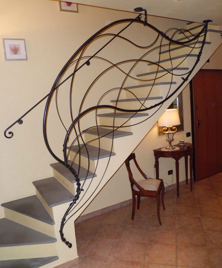 Wrought Iron Staircase: Effigy Of Rod Iron Railing For Interior And Exterior