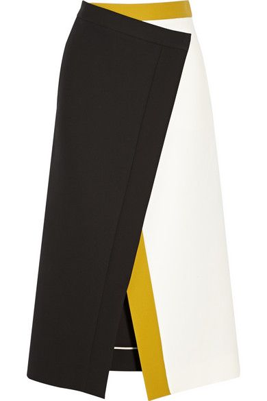 Black, off-white and saffron cotton-crepe Concealed snap fastenings at wrap front 100% cotton; internal trim: 100% silk Dry clean