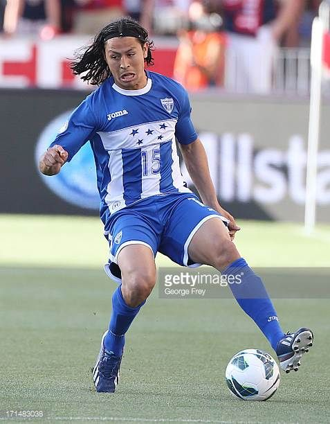 Roger Espinoza of Honduras kicks the ball down field during a game against the United States during the first half of an World Cup Qualifying March...