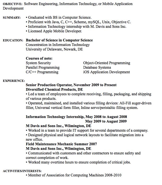 Software Engineering Resume Example Raymond S. Cook IV Contact: 131 New Granville Road Wilmington DE, 19808 Cell: 302-345-6283 rayscook@gmail.com  OBJECTIVE: Software Engineering, Information Technology, or Mobile Application Development   SUMMARY:  • Graduated with BS in Computer...