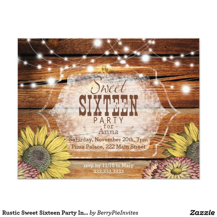 Rustic Sweet Sixteen Party Invitation  #zazzle #zazzlesweetsixteen #birthdayinvitations