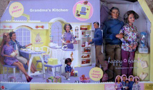 "Barbie Happy Family GRANDMA'S KITCHEN & Grandparents Gift Set - 60+ Pieces (2003) by Mattel. $210.00. Grandma's Kitchen Happy Family Grandparents Gift Set, 60+ Pieces is a 2003 Mattel production. Model #B9880. CONTENTS: Grandma Doll, Grandpa Doll, Folding House & Accessories. GRANDMA DOLL is approx. 10.5"" tall, w/salt & pepper (streaked) medium brown hair & blue eyes; she wears dark dusty rose color Slacks (Pants), white w/pink, dark dusty rose, purple, yellow & green flo..."