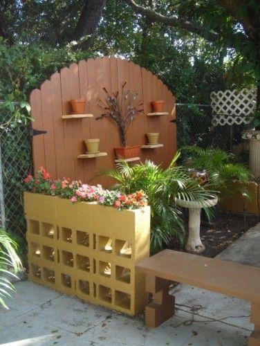 Painted cinder block planter
