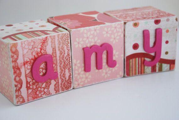 Custom Made blocs nom de bébé personnalisé - rose