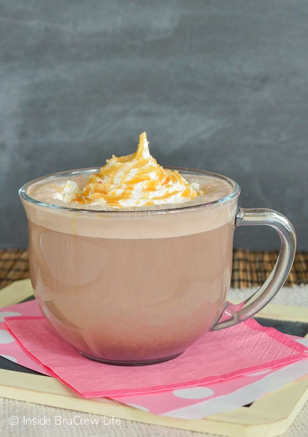 Salted Caramel Mocha Latte - an easy recipe to recreate this drink in your own kitchen with caramel and hot chocolate