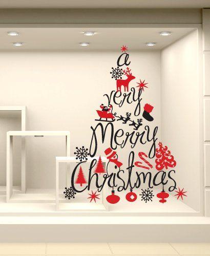 Adesivi Murali Vetrofania natalizia 'Albero Merry Christmas' - Misure 62x80 cm - Vetrine negozi per Natale: Amazon.it: Casa e cucina