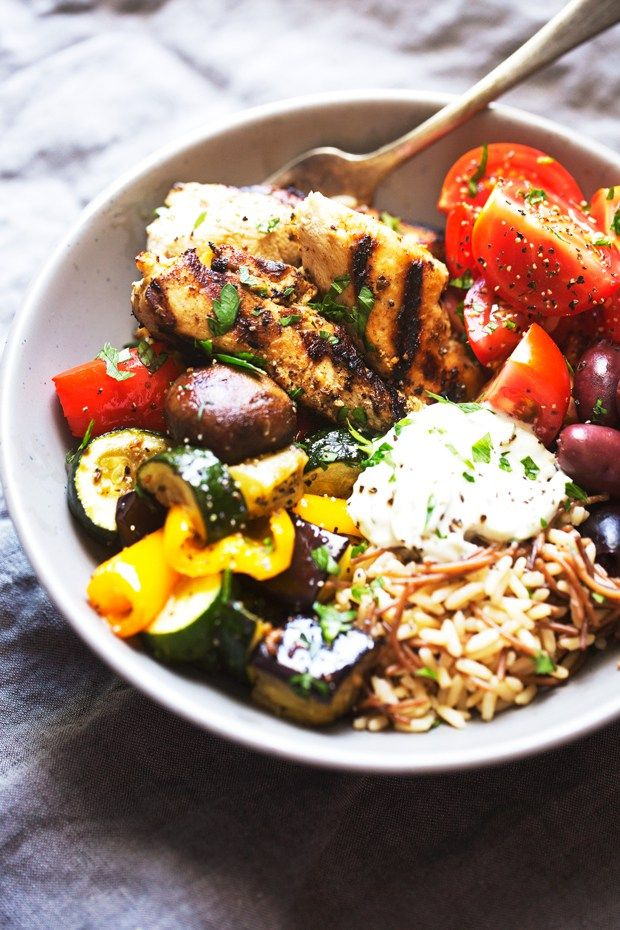 Greek Chicken Souvlaki Bowls with Roasted Veggies Recipe | Little Spice Jar