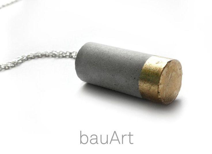 Ketten lang - Beton Kette Zylinder *gold* - ein Designerstück von bauArt bei DaWanda
