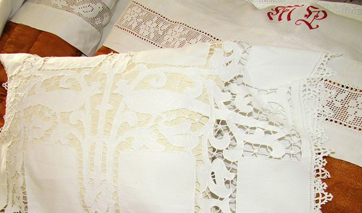 Cut work pillowcase and crochet insertion decorate the wedding night of Mrs MP