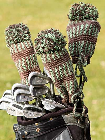 Sporty Golf Club Cover Crochet Pattern Download from e-PatternsCentral.com -- Your favorite guy's clubs will make a sporty presentation on the golf course decked out in these striped covers accented with pompom toppers.