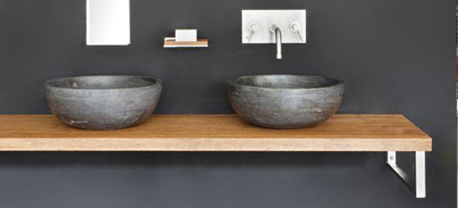 Houtmerknl  Massieve panelen, houten werkblad en tafels op maat  Bathroom  # Alapa Wasbak_075351